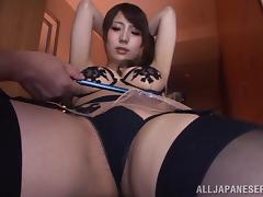 Yuuka Tachiban gets her hairy snatch toyed to orgasm