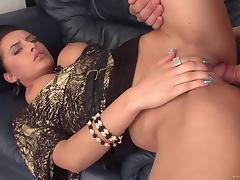 Strict brunette Mela jumps on a cock after sucking it hungrily