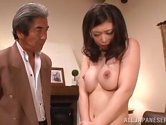 Hikari Hino lets a guy examine her hairy Asian pussy