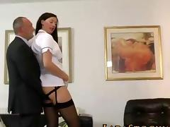 Stockings clad milf nurse fucked by her old patient