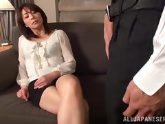 Goddess MILF Serves A Yummy Blowjob Sitting On A Couch