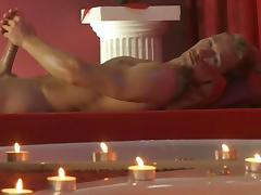 Gay solo scene with nice tanned cock