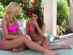 Cute Babes Strip Off Their Bikinis Outdoors