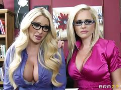Busty blondes Alena Croft and Summer Brielle share a cock in an office