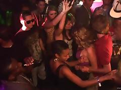 Many slutty chicks shake their butts at a party in a club