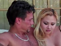 Blond Asian Whore Is Doing Her Duty Sucking Cock