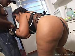 Horny ebony maid Larissa Marques gets drilled by black stud