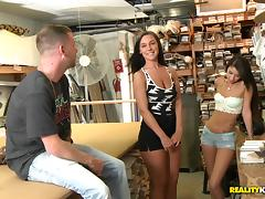 Sexy ladies have a threesome with a dry cleaner employee