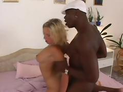 Euro Blonde loves riding black dick
