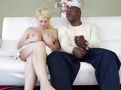 Kagney Lynn Karter plays with her pussy while being interviewed