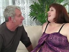 White BBW ho gets her mouth fucked and rides hard cock