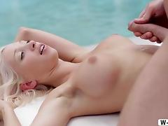 Horny Nancey makes love at poolside