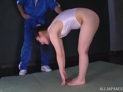 Rin Suzune jerks a guy off until her hands are filled by cum