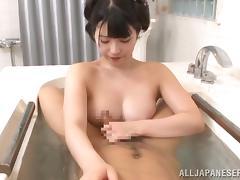 Asian Beauty Gives A Yummy Handjob In The Bathtub POV