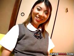 Panty flashing Japanese schoolgirl gets a nailing in her pooter