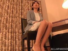Asian slut blows a guy until her mouth's filled by cum