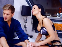 Jasmine Jae gets her fake boobs kneaded and enjoys it hard from behind
