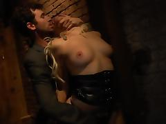 Sex Slave in Leather Gets Rough Fucked in a Dungeon
