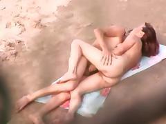 Perfect brunette boned in the beach public sex voyeur video