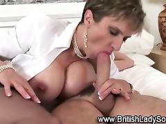 Stockings brit sucks and fucks