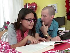 nerdy teen studies with her boyfriend