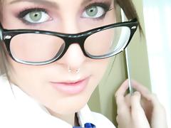 Pierced Babe In Glasses Giving An Arousing Blowjob porn tube video