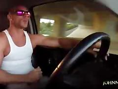 Bodybuilder, Big Cock, Car, Creampie, Handjob, Jerking