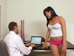 Sexy office girl London Keys jumps on her boss's dick indoors