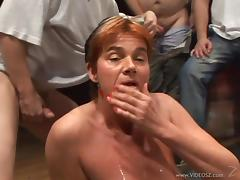 Gangbang sex for a slutty cock thirsty mature