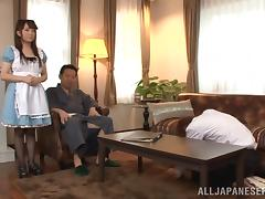 Nasty Asian Hot Babe Gets Fucked In A Threesome Action