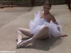 Lovely brunette ballerina poses for you