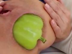 HUGE vegetable anal insertion