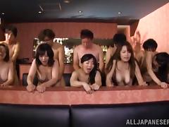 Four Japanese milfs enjoy group banging after lunch