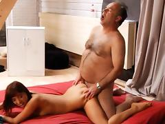 Old instructor and young girl having sex