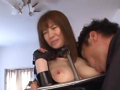 Yuma Asami hot milf in a sexy costume enjoys bondage as slave