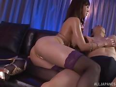 Sexy Japanese hottie is fucked after getting a guy hard