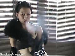 Fetish Solo Model in Elbow High Latex Gloves Smokes