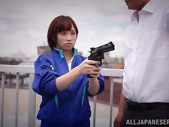 Ayumi Kimino gives hand to a guy in hardcore reality action