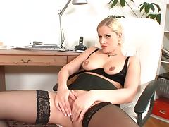 Curly-haired mom blonde takes off her lingerie