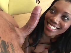 Ebony bound and fucked by white cock