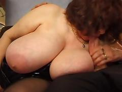 BBW mature with huge saggy tits fucking tube porn video