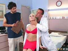 blonde doll checked by her doc