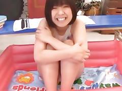 Busty girl enjoys wet stimulation