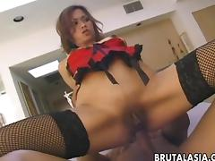 Sensational Japanese slut moans during raunch