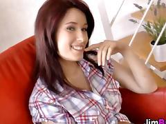 Hot redhead teen babe eats a worn rod tube porn video