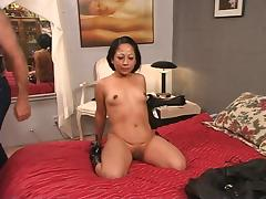 Ponytailed dude whips roped latina's tattooed ass tube porn video