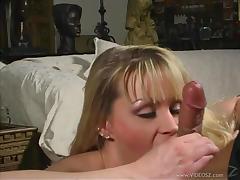 Sizzling Blonde Cougar Sucking A Stranger's Huge Cock On Her Sofa