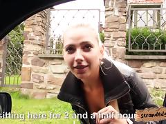 Sexy hitchhiker Jessie Sinclair fucked by stranger dude