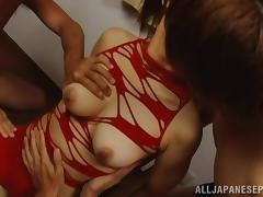Haruki Aoyama Asian hottie in hot group sex sucks two cocks