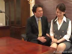 Peachy Asian mature babe enjoys hardcore office sex tube porn video